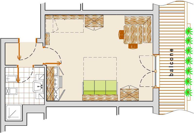 Studio apartman alaprajz 4 f residence civetta fot k - Ikea casa 50 mq ...