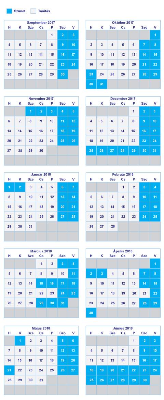 """Képtalálat a következőre: """"iskolai szünetek és ünnepnapok naptár 2017/18"""""""