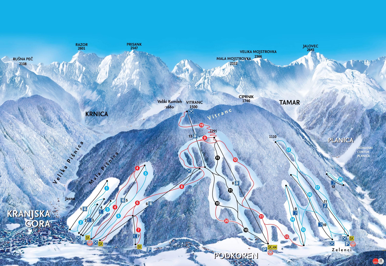 Kranjska Gora sítérkép